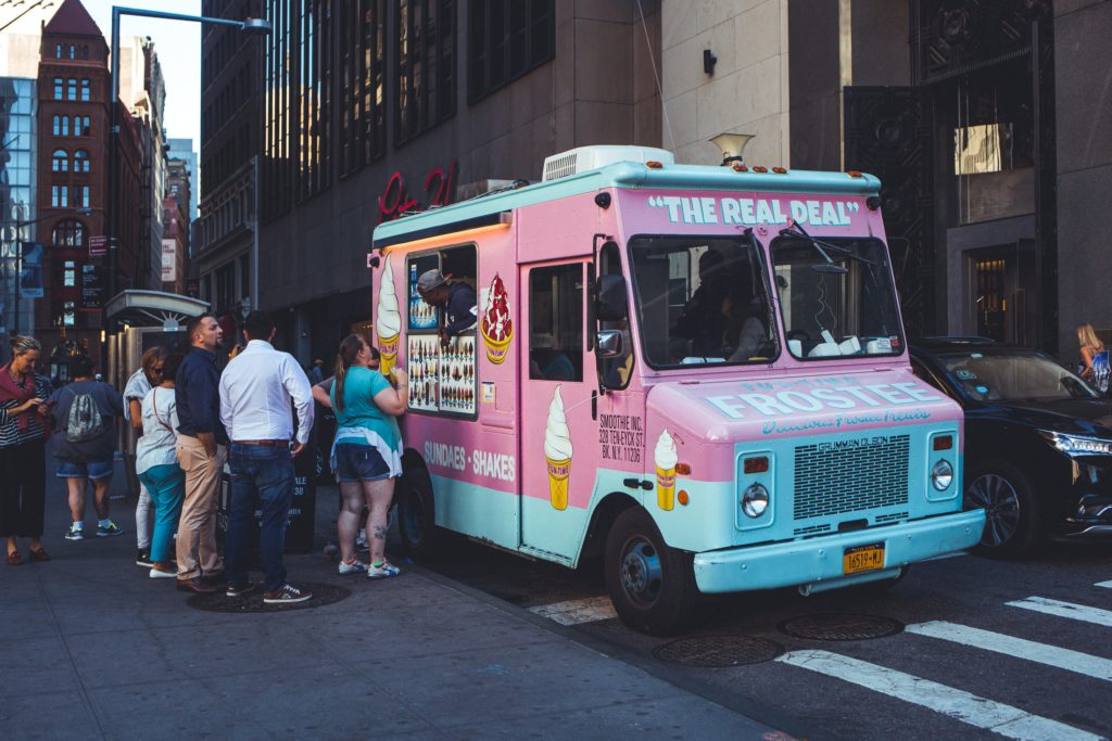 pink blue step van food truck conversion ice cream