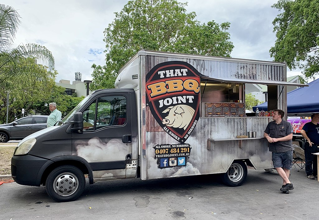 Restaurant or commissary paired bbq food truck