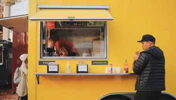 box small concession trailer yellow